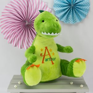 personalised Dinosaur soft toy - green