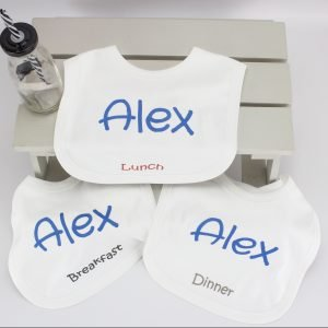 3 x Personalised Baby Bib Set
