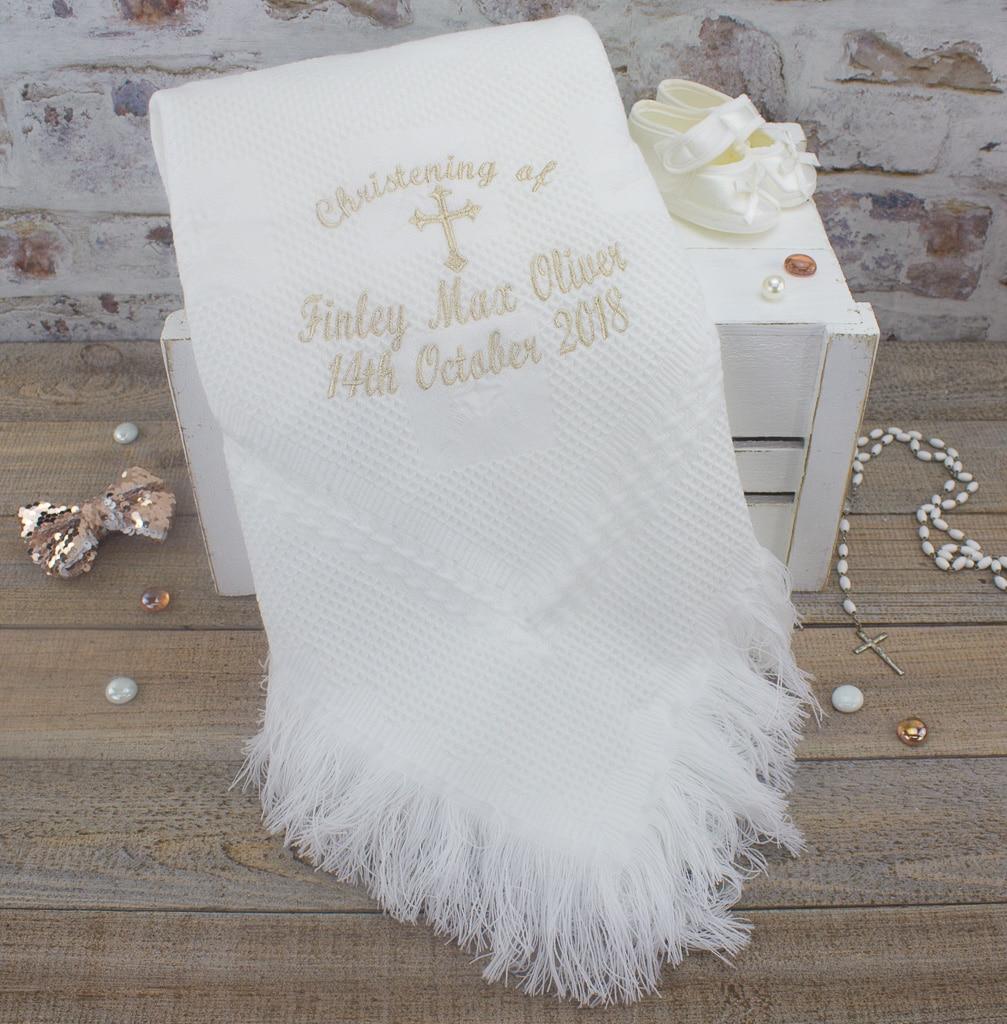 17bf29c98 Personalised White Christening/Baptism Shawl   Heavensent Baby Gifts