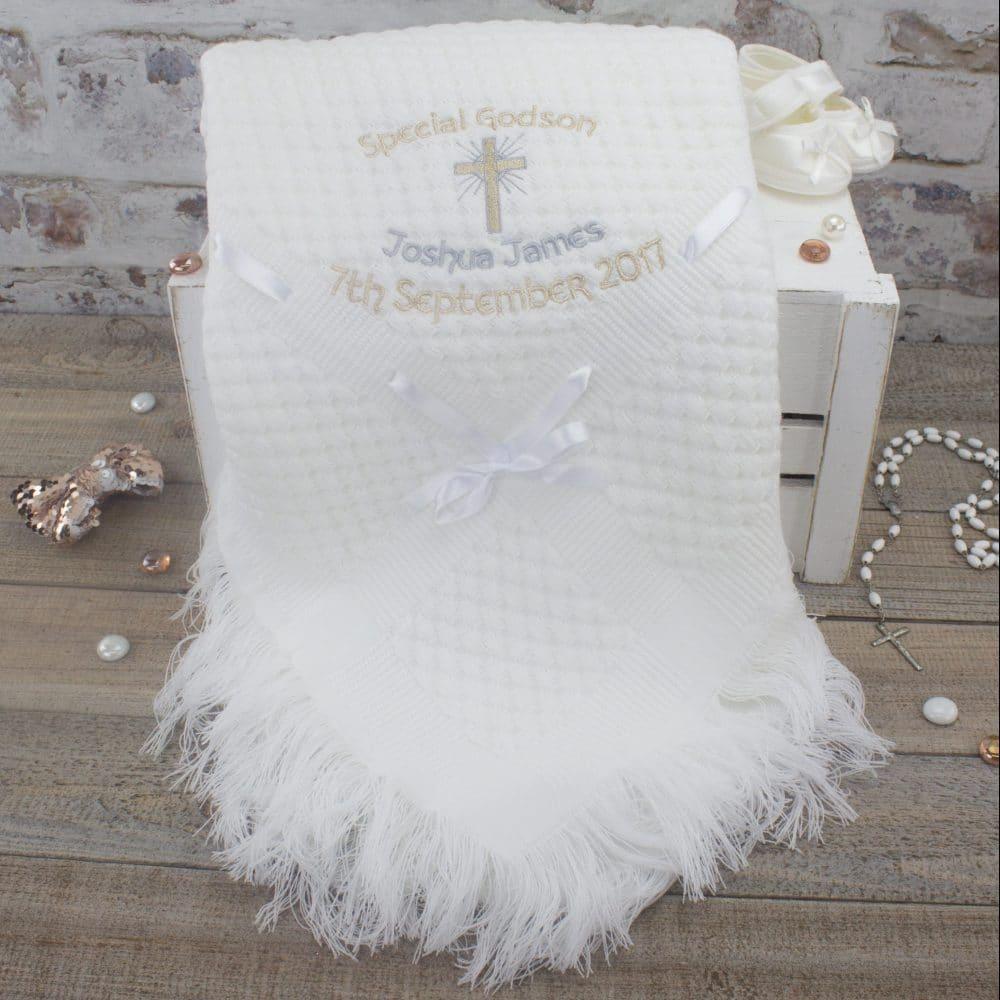 PERSONALISED BLANKET CHRISTENING//BAPTISM CROSS EMBROIDERED GODSON GODDAUGHTER