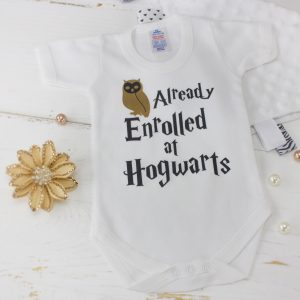 "Harry Potter Baby Bodysuit ""Already Enrolled at Hogwarts"""