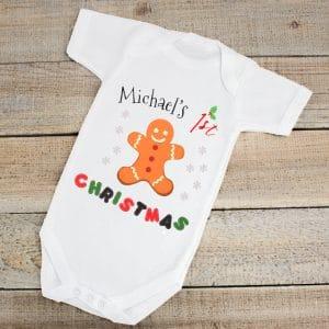 Personalised 1st xmas baby bodysuit