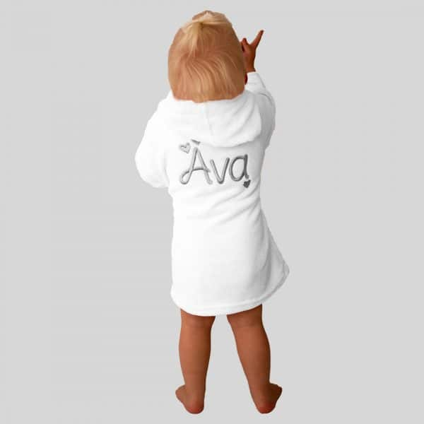 Personalised White Baby Dressing Gown