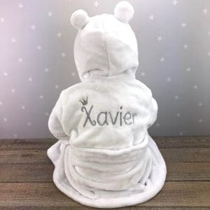 Personalised Fluffy Hooded White Dressing Gown