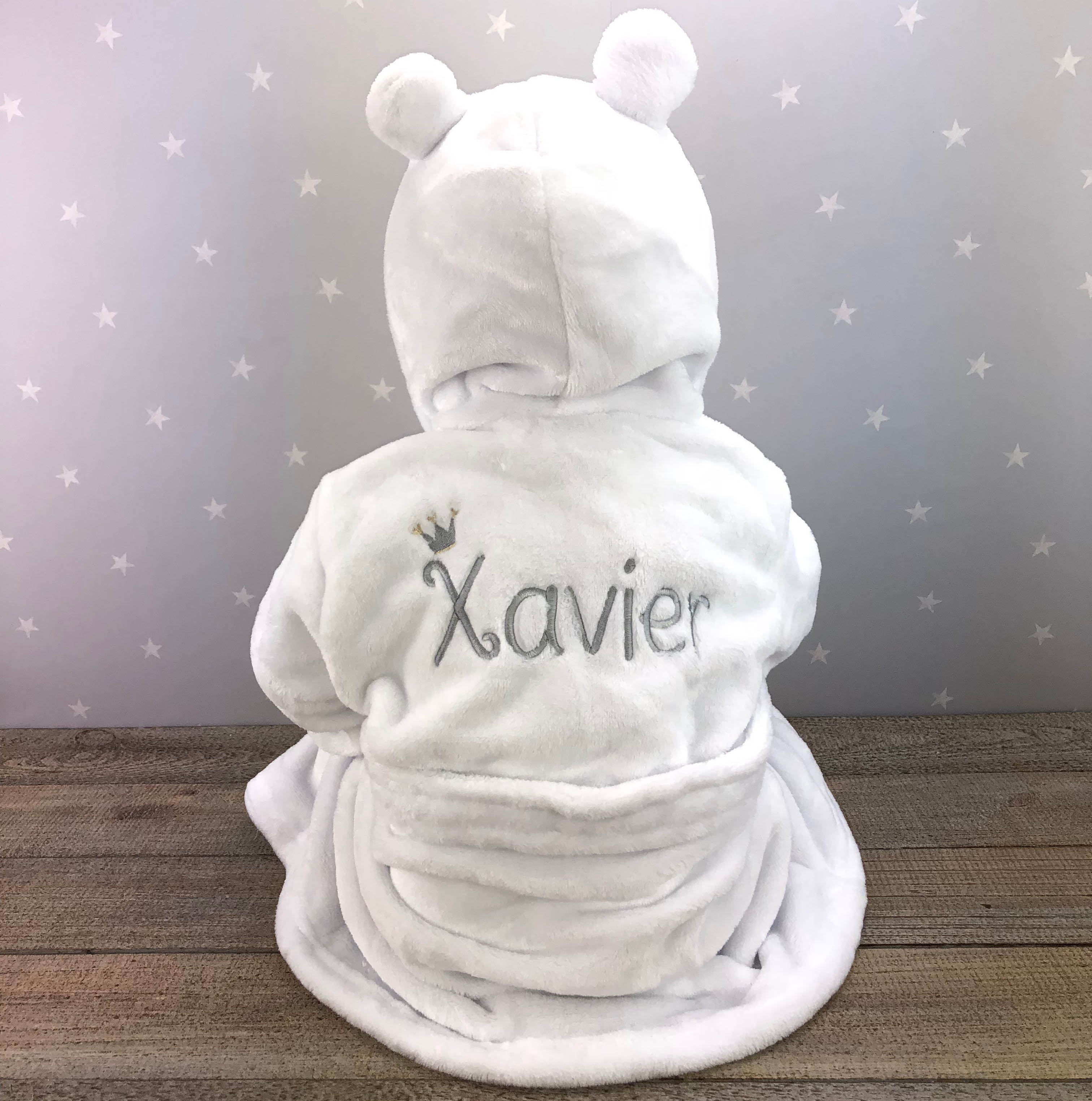 30dd16948 Personalised Baby Dressing Gown - White | Heavensent Baby Gifts