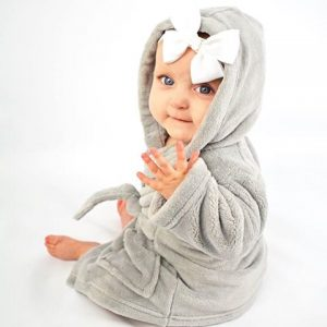 Personalised grey baby dressing gown
