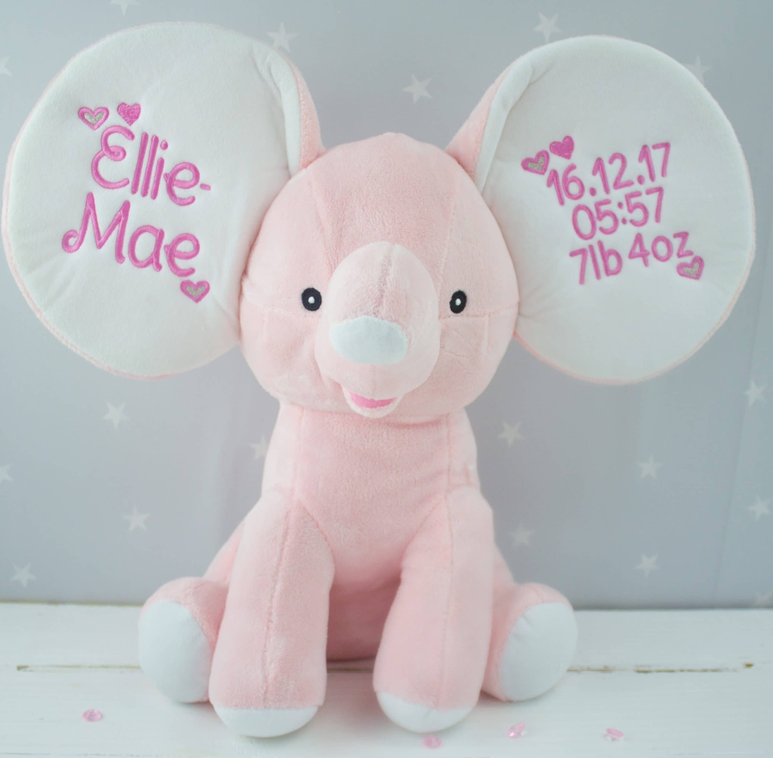 Personalised Pink Dumble Elephant Heavensent Baby Gifts