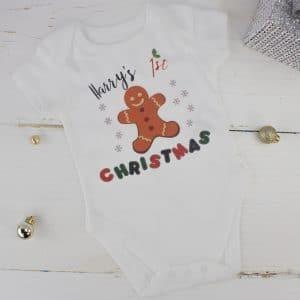 personalised christmas baby bodysuit