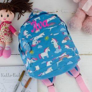 'Personalised Unicorn Print Backpack'