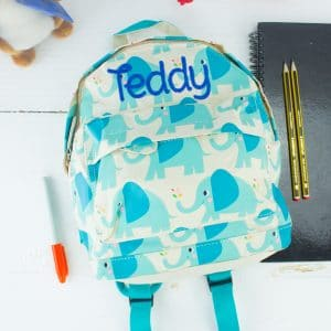 'Personalised Elephant Print Backpack'