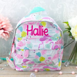 'Personalised Flamingo Print Backpack'