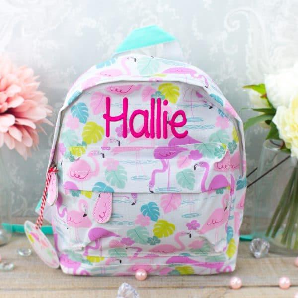 Personalised kids backpack - flamingo