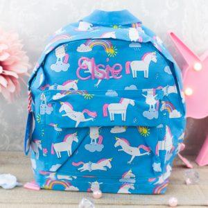 Personalised kids backpack - unicorn
