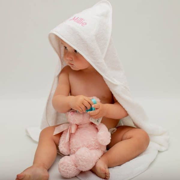 personalised white hooded towel