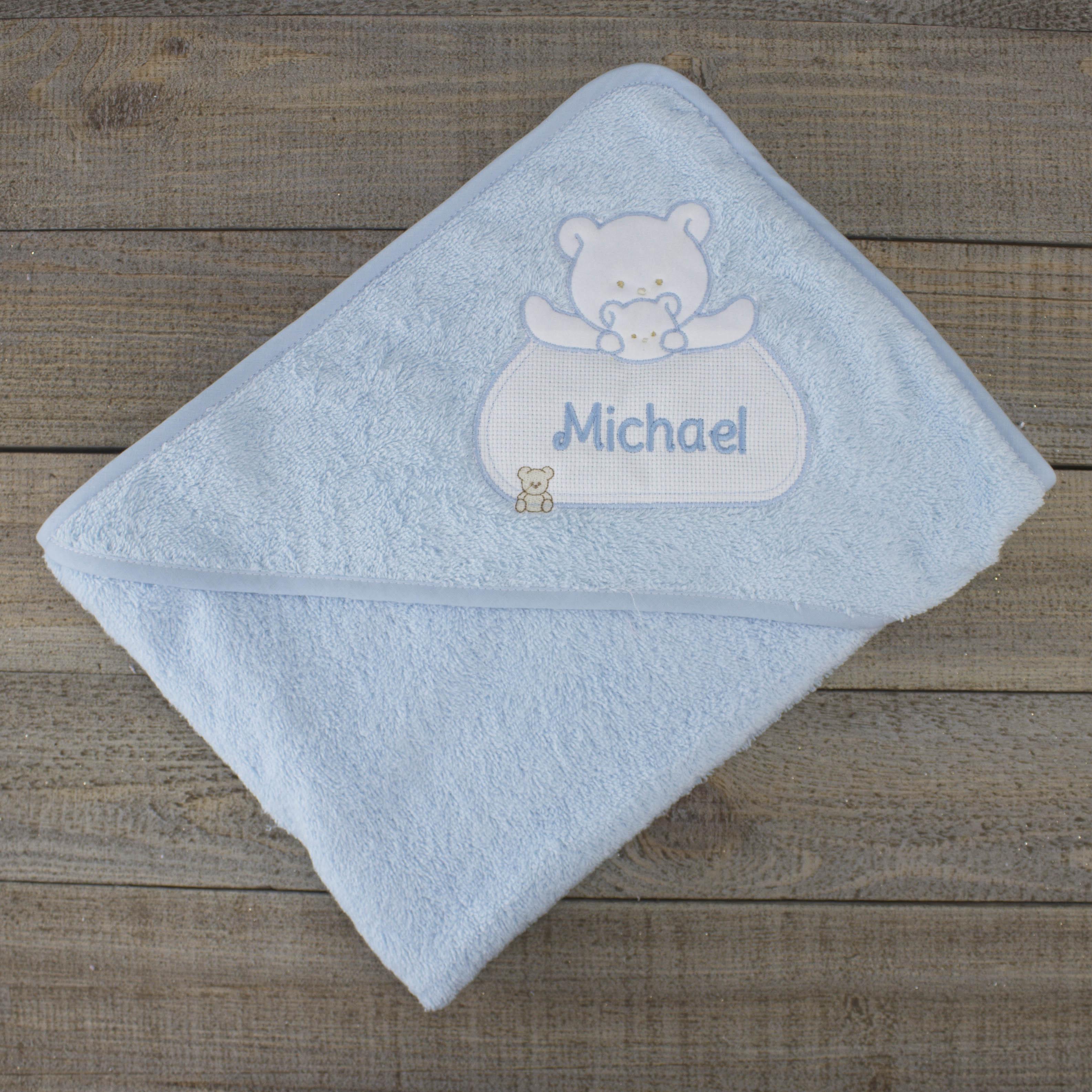 personalised baby towel - blue