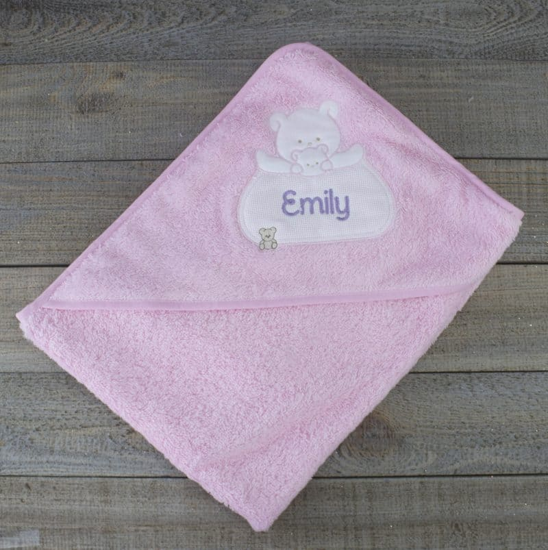 personalised baby towel - pink