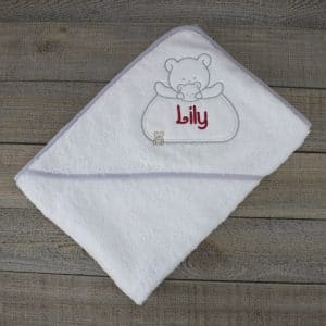 Personalised baby towel - white