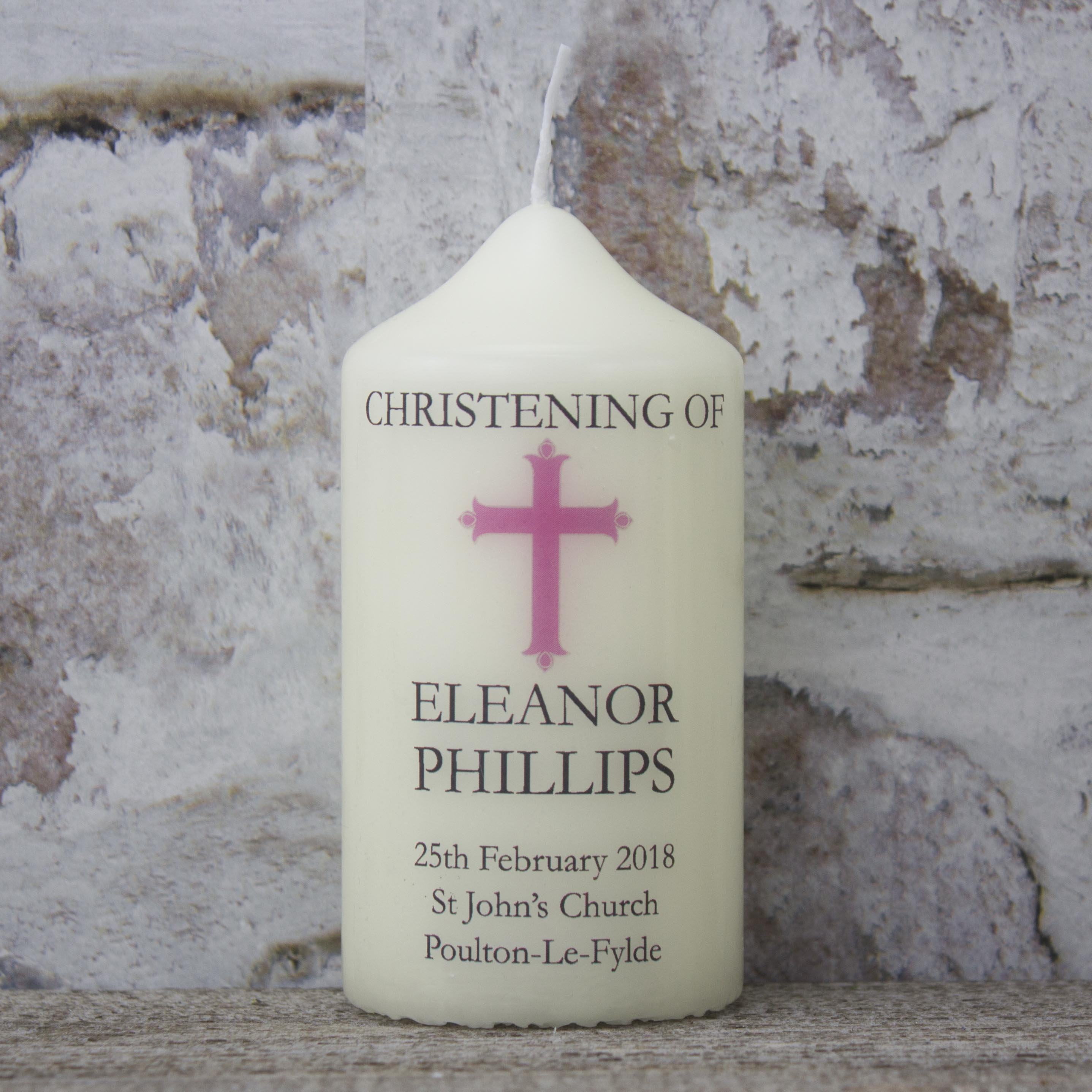 Personalised Christening Candle - Small Girls