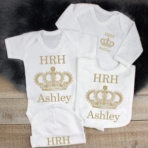 Personalised Royal Baby Clothes Gift Set