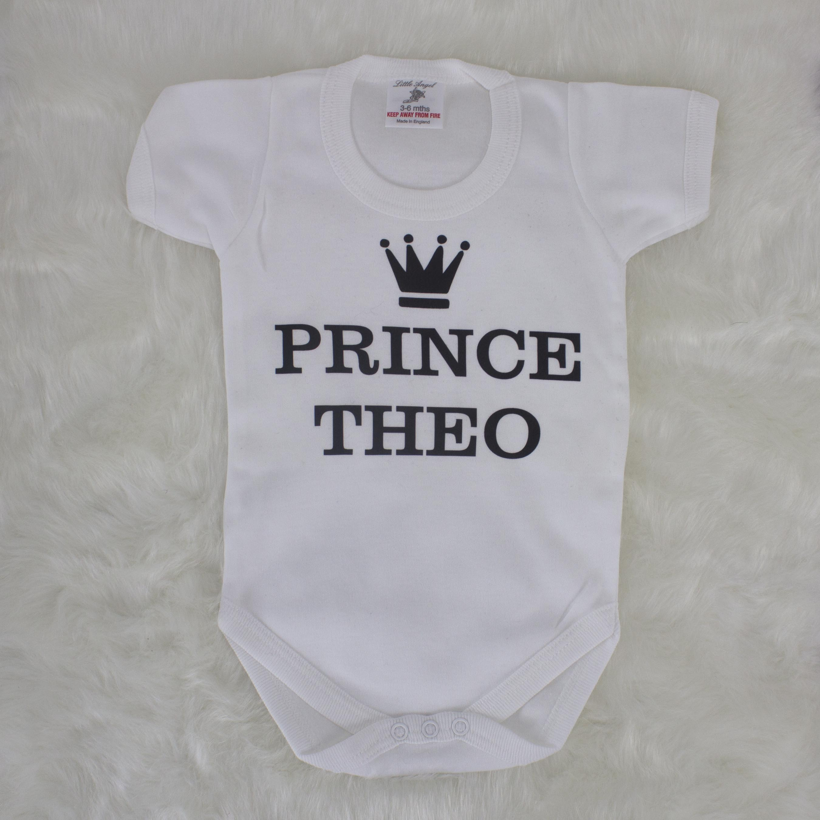 Personalised White Prince Bodysuit