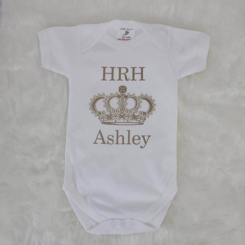 personalised baby gift - HRH bodysuit