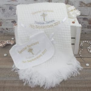Personalised Godson/Goddaughter Christening Shawl & Bib Gift Set