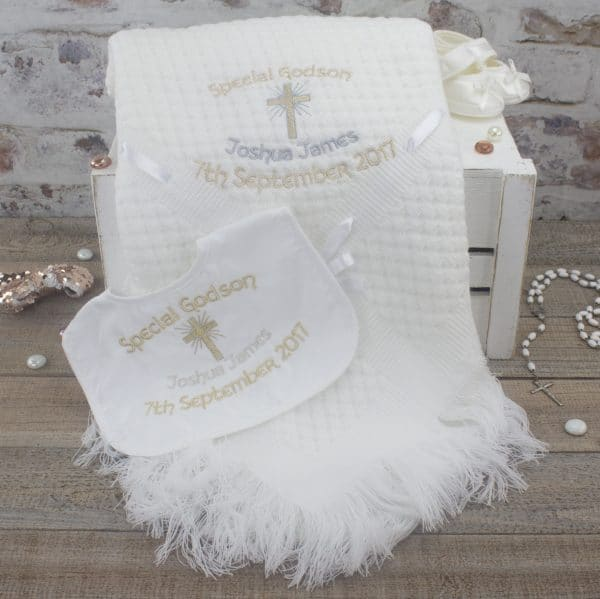 Personalised Godchild Shawl Gift Set