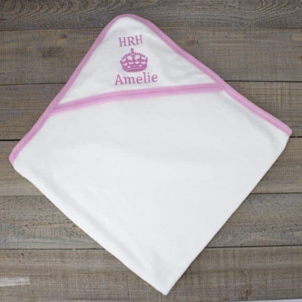 Personalised hrh girls hooded towel heavensent baby gifts personalised baby towel girls negle Gallery
