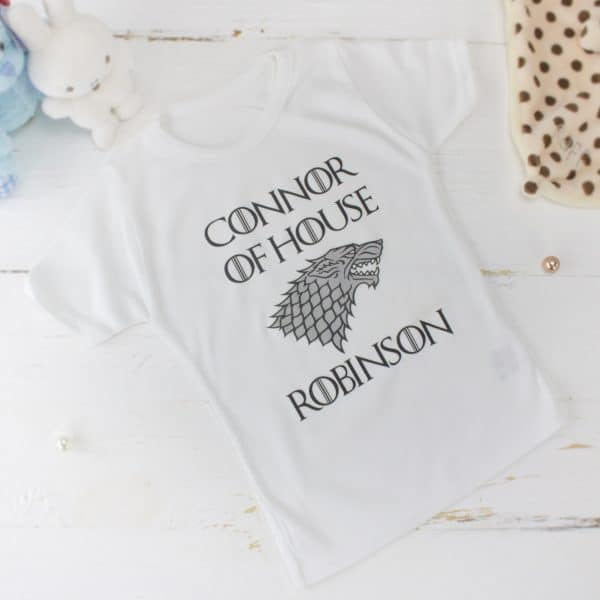 Personalised game of thrones baby clothes - t-shirt
