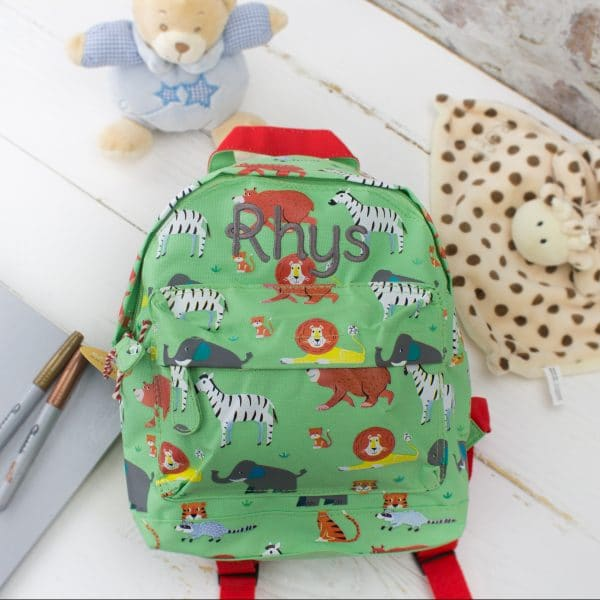 Personalised kids backpack - animal print