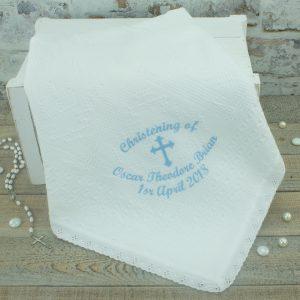 Personalised White Milano Style Christening/Baptism Shawl