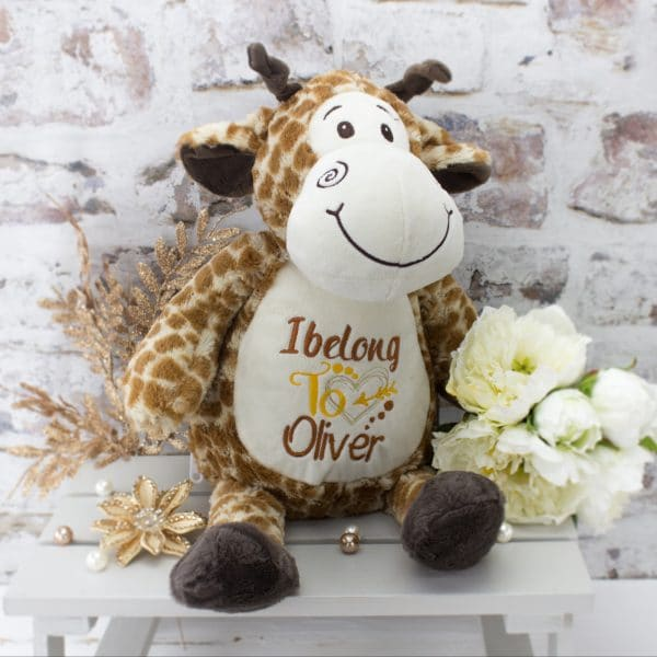 personalised giraffe soft toy - brown