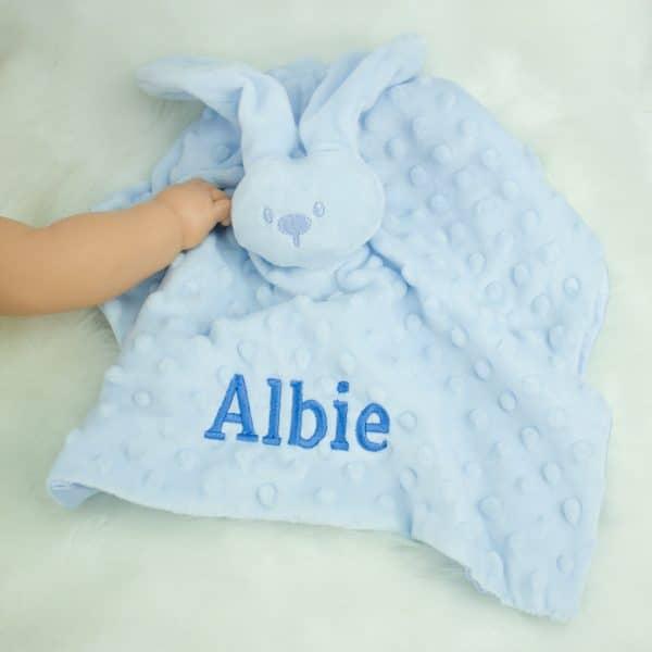 Personalised Baby Boy Bunny Comforter