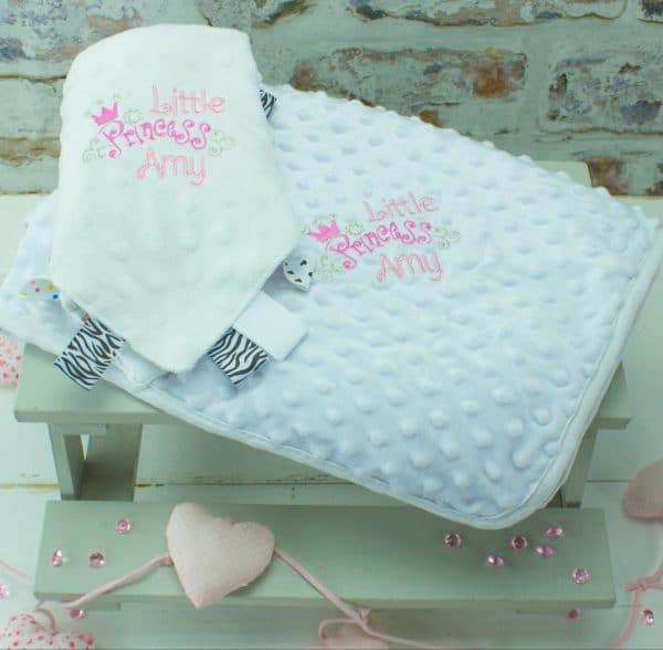 Personalised baby blanket and personalised comforter gift set