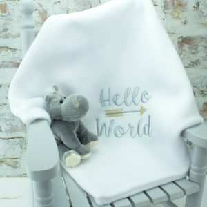 'White 'Hello World' Baby Blanket'