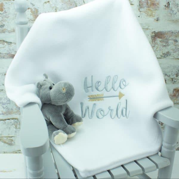 personalised baby blanket - white hello world