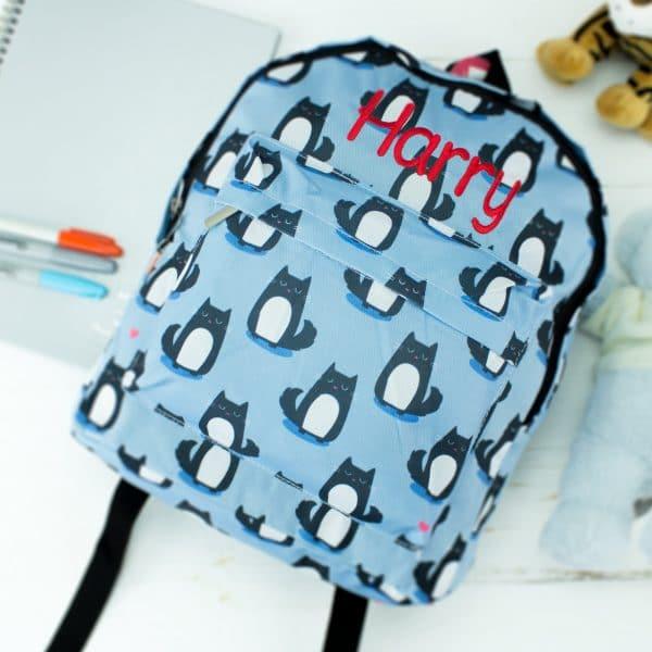 personalised large kids packpack - cat