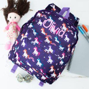 Personalised Large Unicorn Kids Backpack