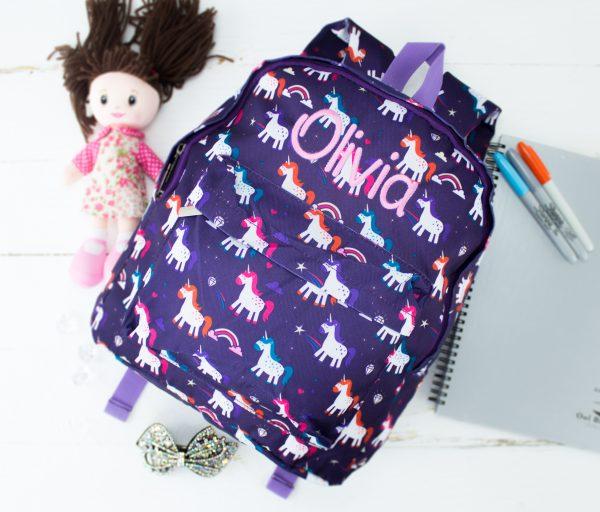 personalised large kids packpack - unicorn