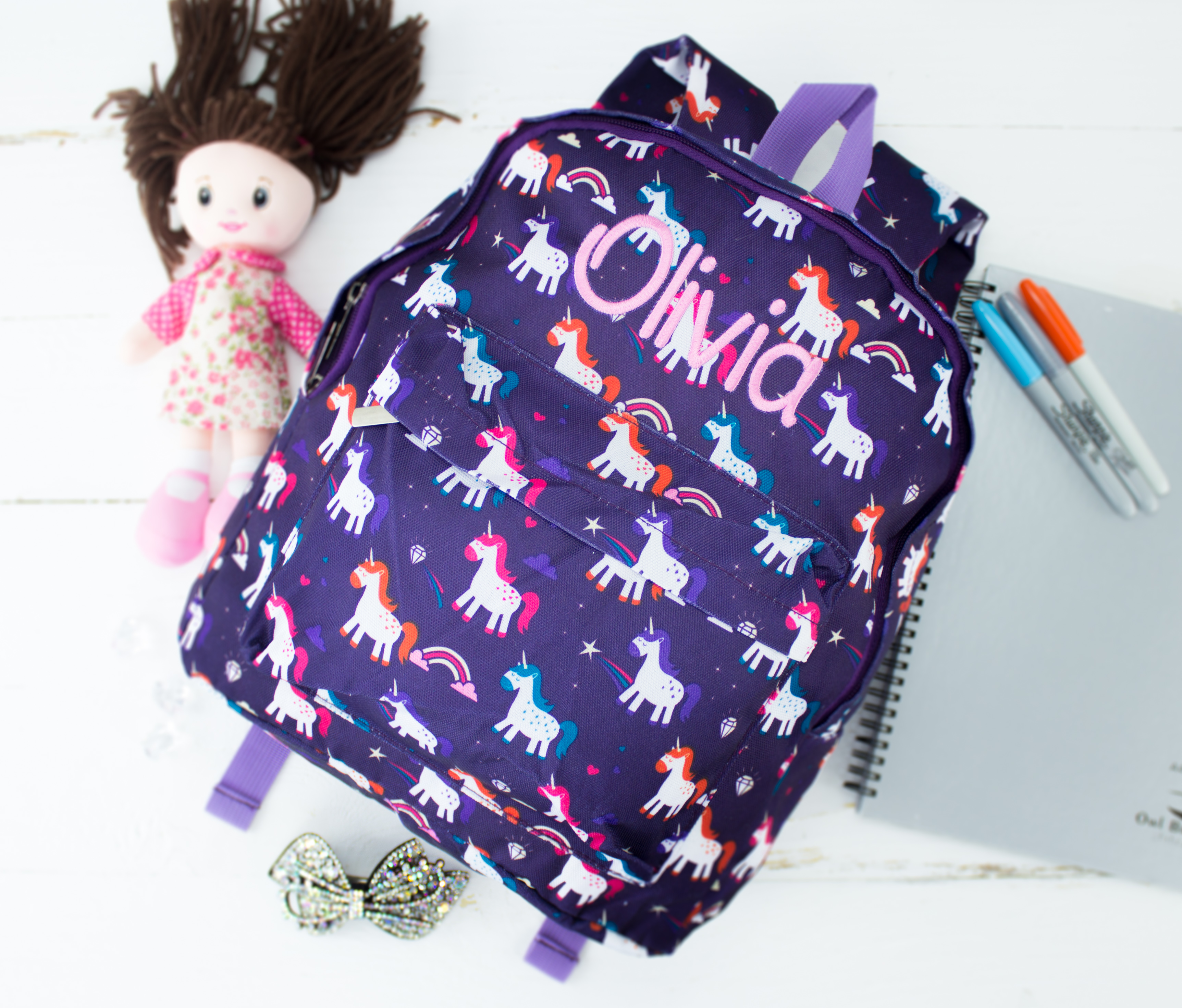 Personalised Large Kids Backpack - Unicorns   Heavensent Baby Gifts 4be606f96c