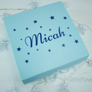 'Personalised Blue Baby Keepsake Gift Box'