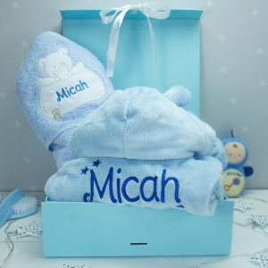 Personalised Baby Boy Bath Time Gift Set
