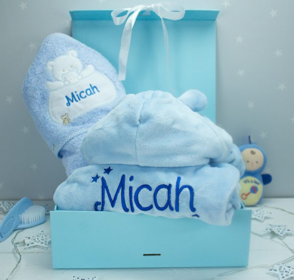 Personalised baby boy gift set