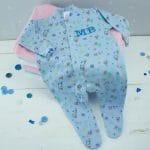 personalised baby boy babygro - blue