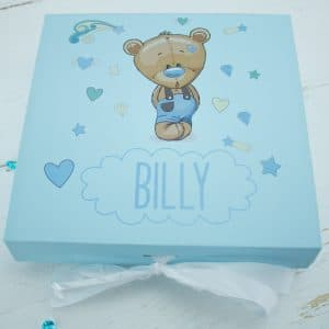 'Personalised Blue Teddy Bear Baby Keepsake Gift Box'