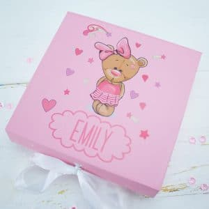 'Personalised Pink Teddy Bear Baby Keepsake Gift Box'