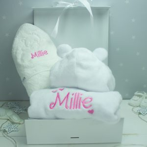 Personalised White Baby Bath Time Gift Set