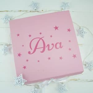 'Personalised Pink Baby Keepsake Gift Box'