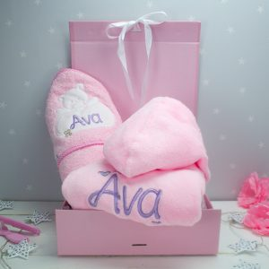 Personalised Baby Girl Bath Time Gift Set