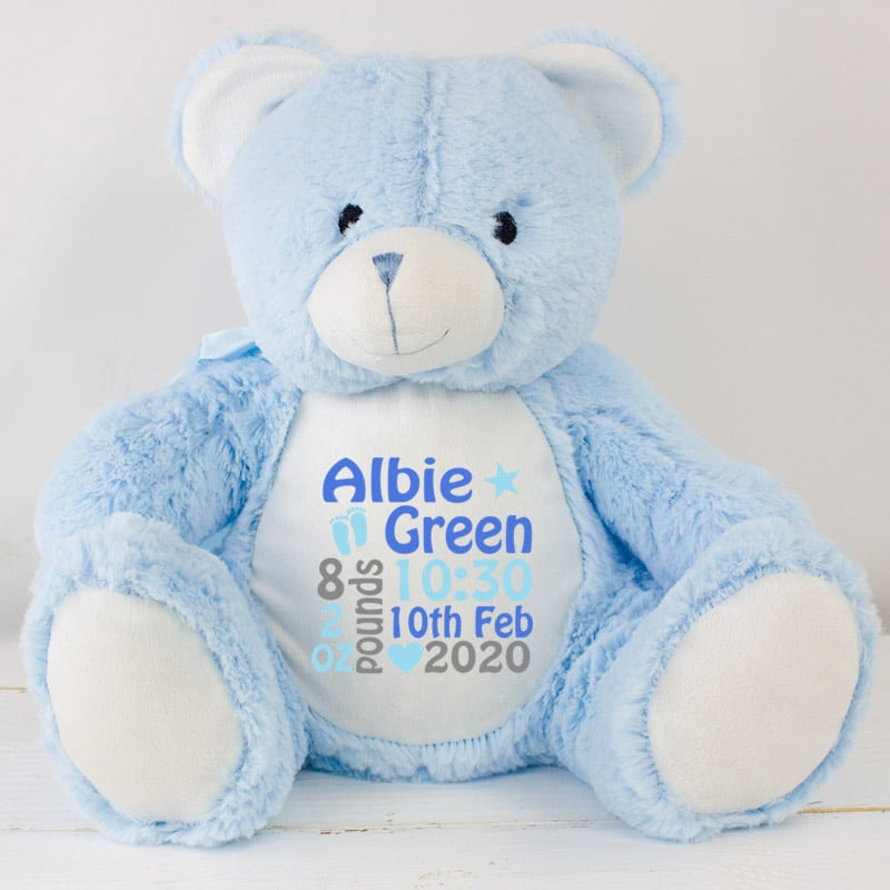 PERSONALISED FLEECE BLANKET BOY COT PRAM NEWBORN GIFT BLUE BABY TEDDY BEAR